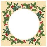 Kerstmis sier cirkelkader De hulsttakken met doorbladert en bessen De kaartmalplaatje van de Kerstmisgroet Royalty-vrije Stock Afbeelding