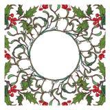Kerstmis sier cirkelkader Hulst en spar de takken met doorbladert bessen en kegels De Kerstman op een slee Stock Afbeeldingen