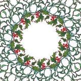 Kerstmis sier cirkelkader Hulst en spar de takken met doorbladert bessen en kegels De Kerstman op een slee Royalty-vrije Stock Fotografie