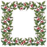 Kerstmis sierkader De hulsttakken met doorbladert en bessen De kaartmalplaatje van de Kerstmisgroet Royalty-vrije Stock Fotografie