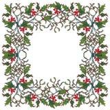Kerstmis sierkader De hulsttakken met doorbladert en bessen De kaartmalplaatje van de Kerstmisgroet Stock Afbeeldingen