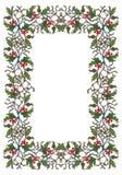 Kerstmis sierkader De hulsttakken met doorbladert en bessen De kaartmalplaatje van de Kerstmisgroet Royalty-vrije Stock Foto's
