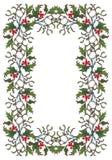 Kerstmis sierkader De hulsttakken met doorbladert en bessen De kaartmalplaatje van de Kerstmisgroet Royalty-vrije Stock Afbeelding