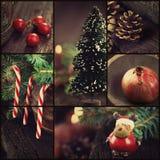 Kerstmis siert collage Stock Afbeeldingen