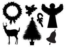 Kerstmis silhouetteert 2 Stock Foto's