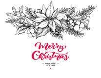 Kerstmis slinger en het van letters voorzien Vectorhand getrokken illustratie met hulst, maretak, poinsettia, denneappel, katoen royalty-vrije illustratie