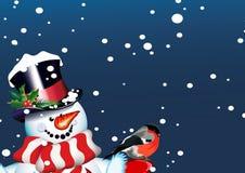 Kerstmis. Sneeuwman en goudvink Stock Foto