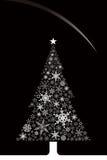 Kerstmis (sneeuwvlokken en boom) Royalty-vrije Stock Foto
