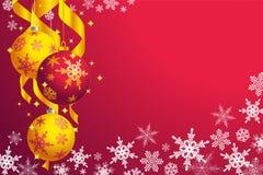 Kerstmis: sneeuwvlokken en snuisterijen Royalty-vrije Stock Foto's