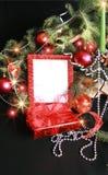 Kerstmis steekt frame aan Stock Foto