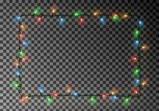 Kerstmis steekt kader van het grens het vector, lichte die koord op donkere achtergrond met exemplaarruimte wordt geïsoleerd aan  stock illustratie