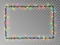 Kerstmis steekt kader van het grens het vector, lichte die koord op donkere achtergrond met exemplaarruimte wordt geïsoleerd aan  royalty-vrije illustratie