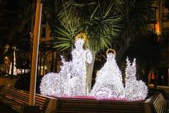Kerstmis steekt Straatachtergrond aan stock afbeelding