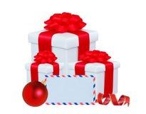 Kerstmis stelt, bollen voor, kaart en decoratie op wit worden geïsoleerd dat Royalty-vrije Stock Fotografie