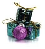 Kerstmis stelt en decoratie op witte achtergrond voor Stock Afbeeldingen