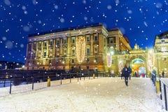 Kerstmis in Stockholm koninklijk paleis in het centrum van Stockholm, stock foto