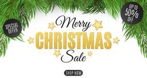 Kerstmis super verkoop De tekst wordt gemaakt van goud schittert Speciale aanbieding, kortingen tot 50 percenten Kerstboom op een vector illustratie