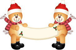 Kerstmis Teddy Bear Holding een Leeg Teken Stock Foto's