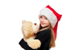 Kerstmis Teddy van het kind Royalty-vrije Stock Afbeeldingen