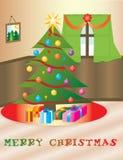 Kerstmis themed huis Stock Illustratie