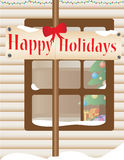 Kerstmis themed huis openlucht Stock Illustratie