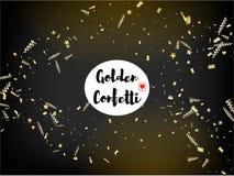 Kerstmis Tinsel Confetti, Dalend Nieuwjaargoud royalty-vrije illustratie