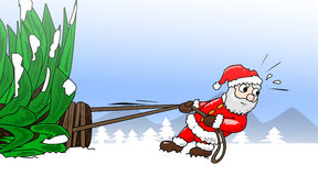 Kerstmis-Treepulling Royalty-vrije Stock Foto's