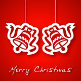 Kerstmis twee klokken applique achtergrond Stock Foto's