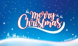 Kerstmis Typografisch op glanzende Kerstmisachtergrond met de winterlan vector illustratie
