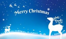 Kerstmis Typografisch op glanzende Kerstmisachtergrond met de winterlan stock illustratie