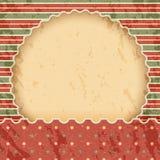 Kerstmis uitstekend document achtergrond of kader Rode en groene klassieke stijl Stock Foto's