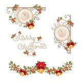 Kerstmis uitstekende banner met klok, slinger en hulstbessen stock illustratie