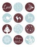 Kerstmis Uitstekende Etiketten Royalty-vrije Stock Afbeeldingen