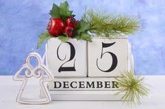 Kerstmis Uitstekende Houten Kalender Stock Afbeeldingen