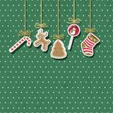 Kerstmis Uitstekende Kaart Vector illustratie Stock Foto's