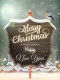 Kerstmis Uitstekende straat met Uithangbord Eps 10 Royalty-vrije Stock Afbeelding