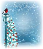 Kerstmis uitstekende straatlantaarns en bontbomen Stock Foto's