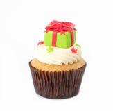 Kerstmis van cupcake op het wit Stock Fotografie