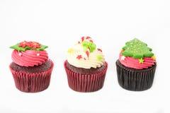 Kerstmis van cupcake op het wit Royalty-vrije Stock Afbeelding