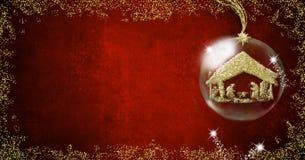 Kerstmis van de achtergrond geboorte van Christusscène kaarten Stock Fotografie