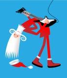 Kerstmis van de kerstman guitarplayer Stock Afbeeldingen