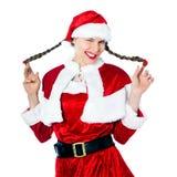 Kerstmis van de Kerstman van de vrouw het knipogen Stock Afbeeldingen
