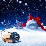 Kerstmis van de kunstsneeuw of nieuwe jarenvooravond Royalty-vrije Stock Fotografie