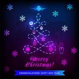 Kerstmis van de neonlogistiek Kerstboom, weg en verschillend vervoer op donkere achtergrond Nieuwe jaaruitnodiging Weg van royalty-vrije illustratie