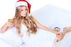 Kerstmis van de vrouw Stock Foto