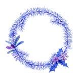 Kerstmis van de de winterwaterverf om kader met boomtakken en B royalty-vrije illustratie