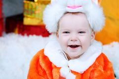 Kerstmis van het jonge geitje Royalty-vrije Stock Fotografie