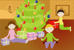 Kerstmis van het jonge geitje Stock Foto's