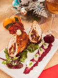Kerstmis van het kippenbroodje stock foto