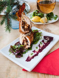 Kerstmis van het kippenbroodje stock afbeeldingen